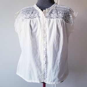 April Cornell Cottagecore Lace Button Up Blouse
